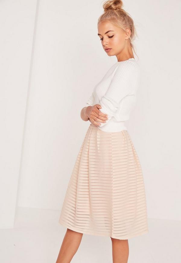 Rib Mesh Stripe Midi A Line Skirt Pink | Missguided