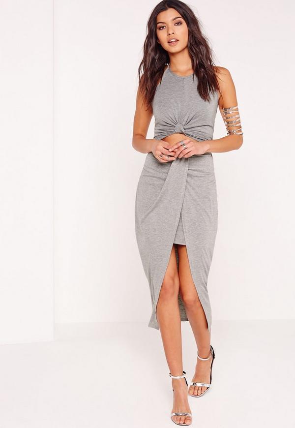 Pleat Front Jersey Midi Skirt Grey