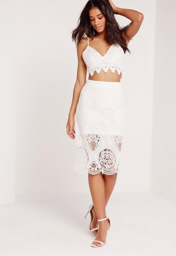 Lace Pencil Skirt White