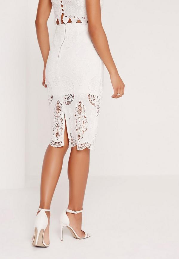 lace pencil skirt white missguided
