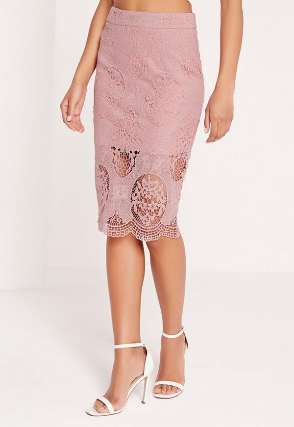 lace midi skirt mauve | Missguided