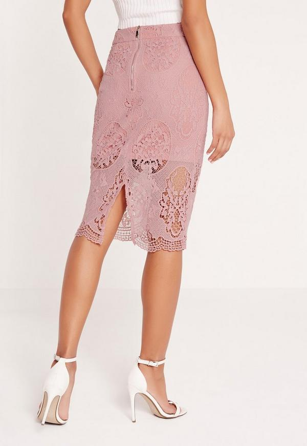 Lace Pencil Skirt Purple - Missguided