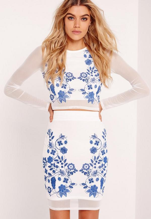 Puff Print Floral Pencil Skirt White
