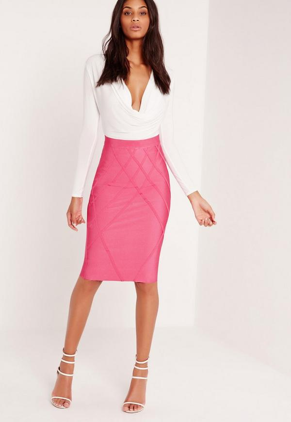 Premium Lattice Effect Bandage Skirt Pink