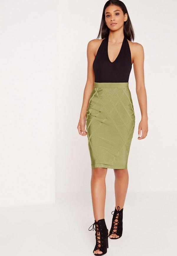 Premium Lattice Bandage Skirt Green