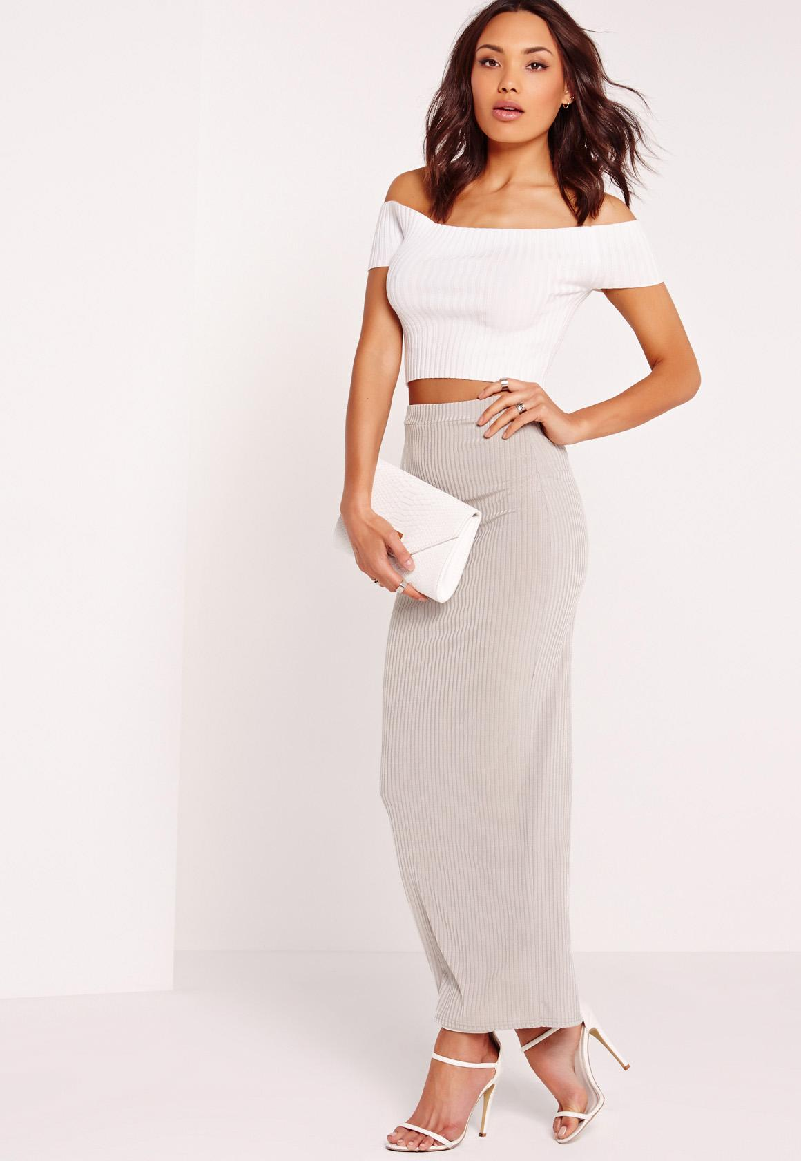 Ribbed Maxi Skirt Grey - Missguided