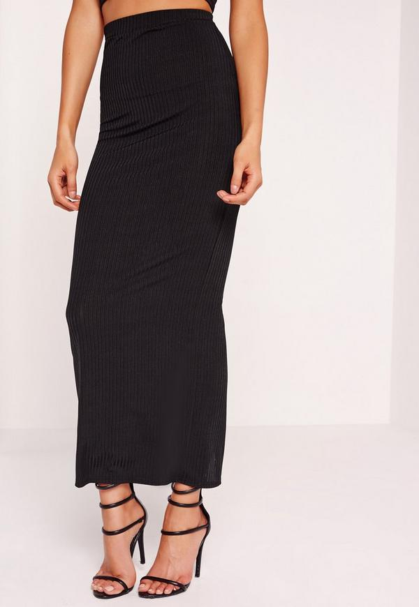 ribbed maxi skirt black missguided