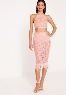 Feather Hem Lace Midi Skirt Pink