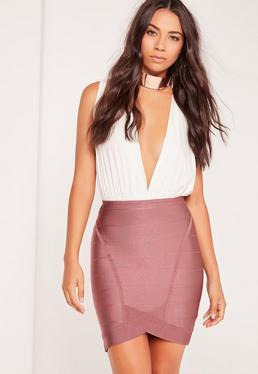 Premium Bandage Asymmetric Mini Skirt Purple