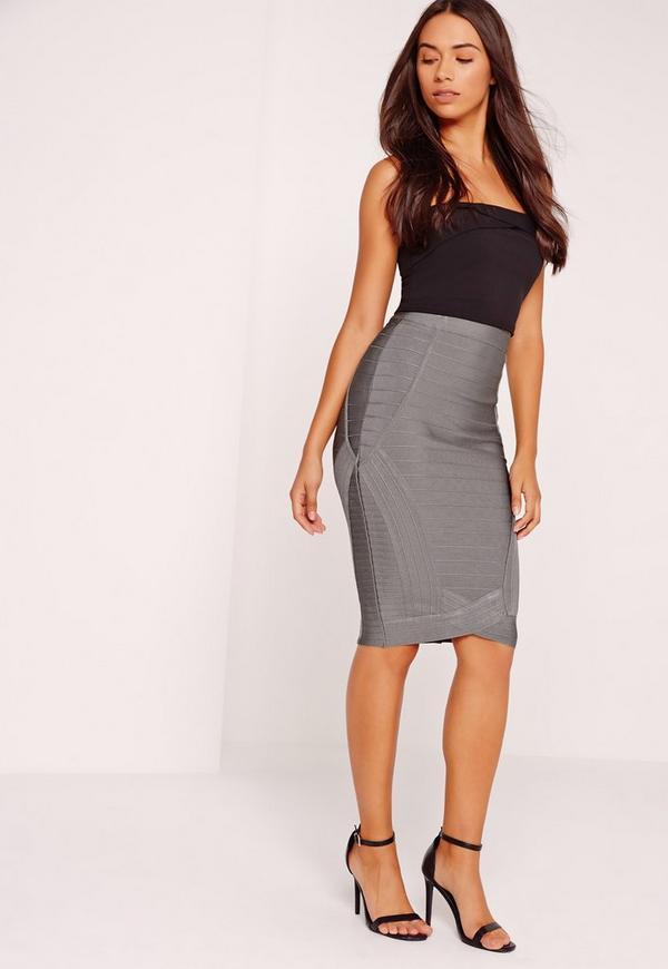 Premium Curved Front Bandage Midi Skirt Grey