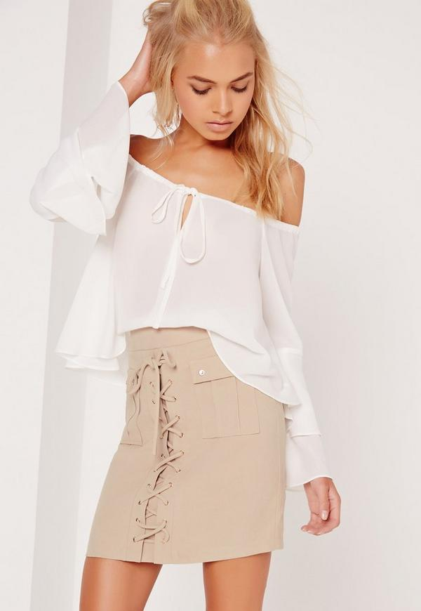 Peached Lace Up Eyelet Skirt Nude