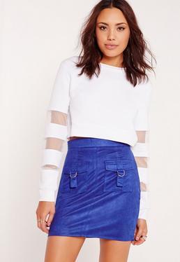 Faux Suede D-ring Pocket Mini Skirt Blue