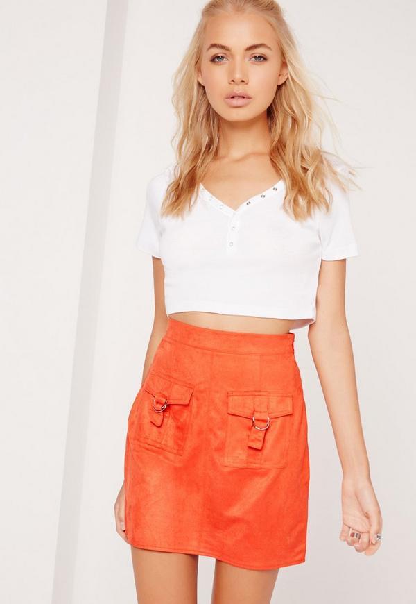 Faux Suede D-ring Pocket Mini Skirt Orange