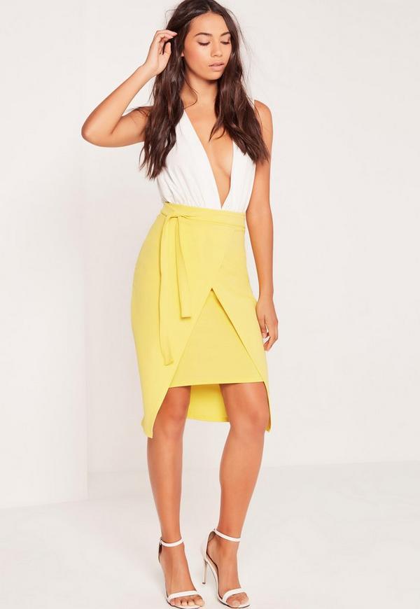 Wrap Tie Side Midi Skirt Yellow
