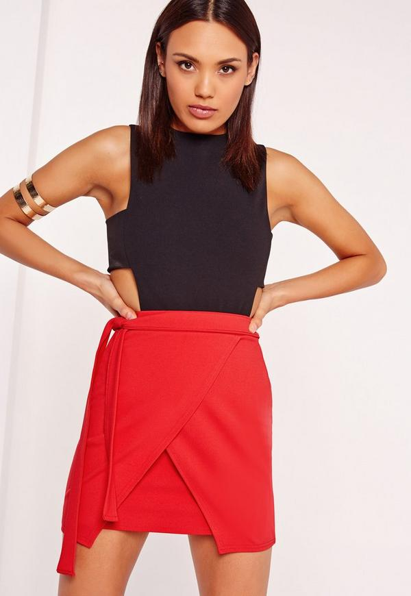 Tie Side Asymmetric Mini Skirt Red