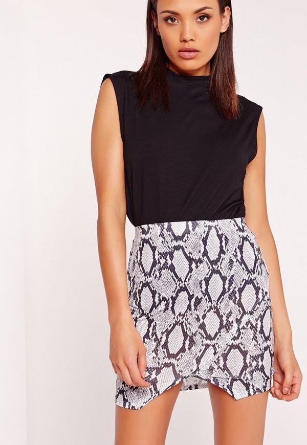 Asymmetric Snake Printed Skirt Multi