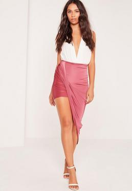 Slinky Asymmetric Wrap Skirt Pink
