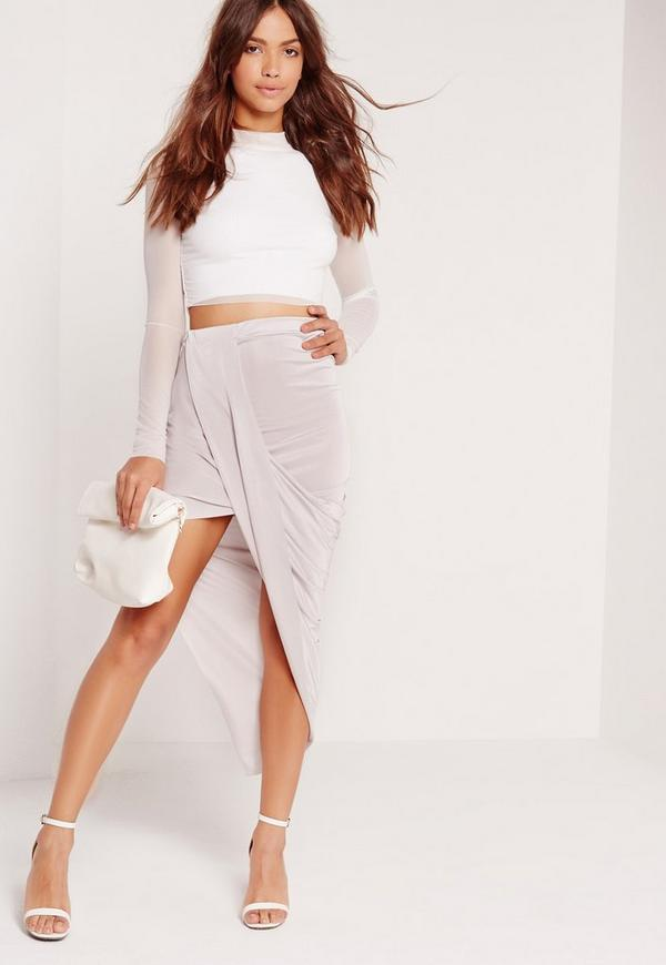 Slinky Asymmetric Wrap Skirt Grey