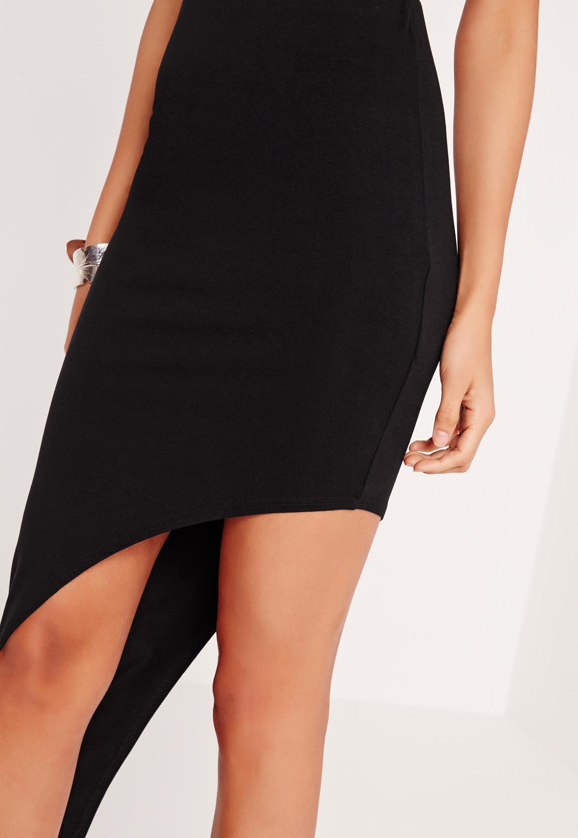 asymmetric jersey midi skirt black