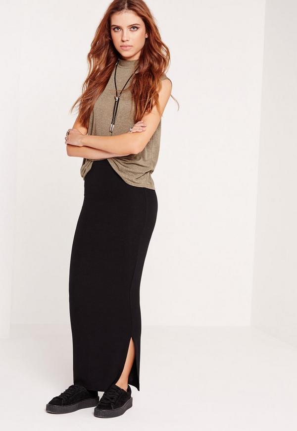 Long Ribbed Maxi Skirt Black