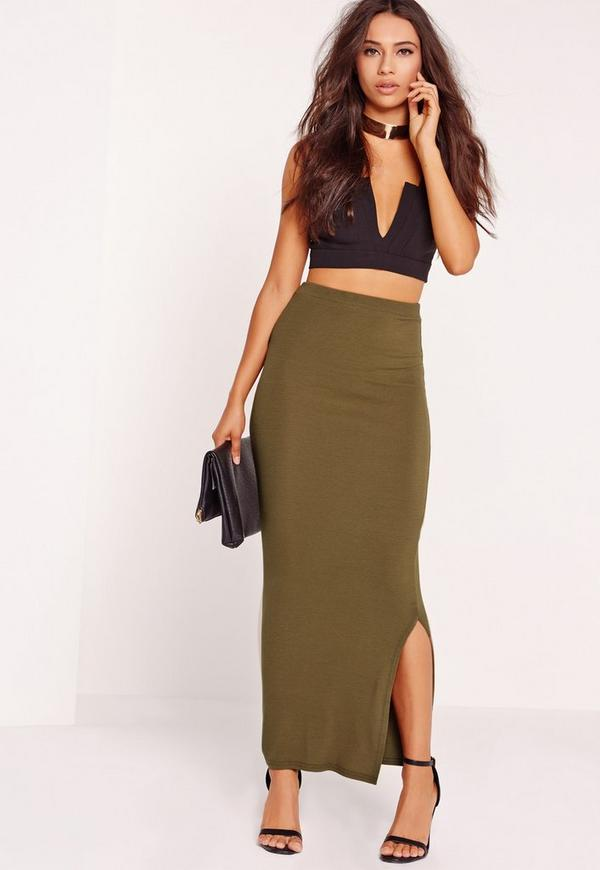 Long Ribbed Maxi Skirt Khaki
