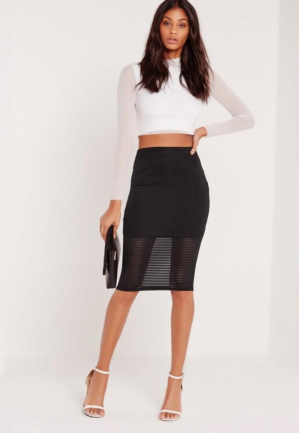 Stripe Mesh Midi Skirt Black