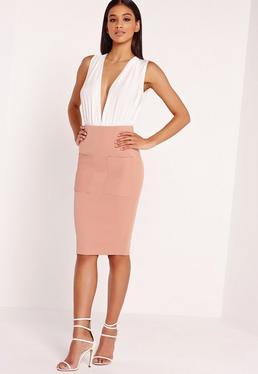 Pocket Ribbed Midi Skirt Pink