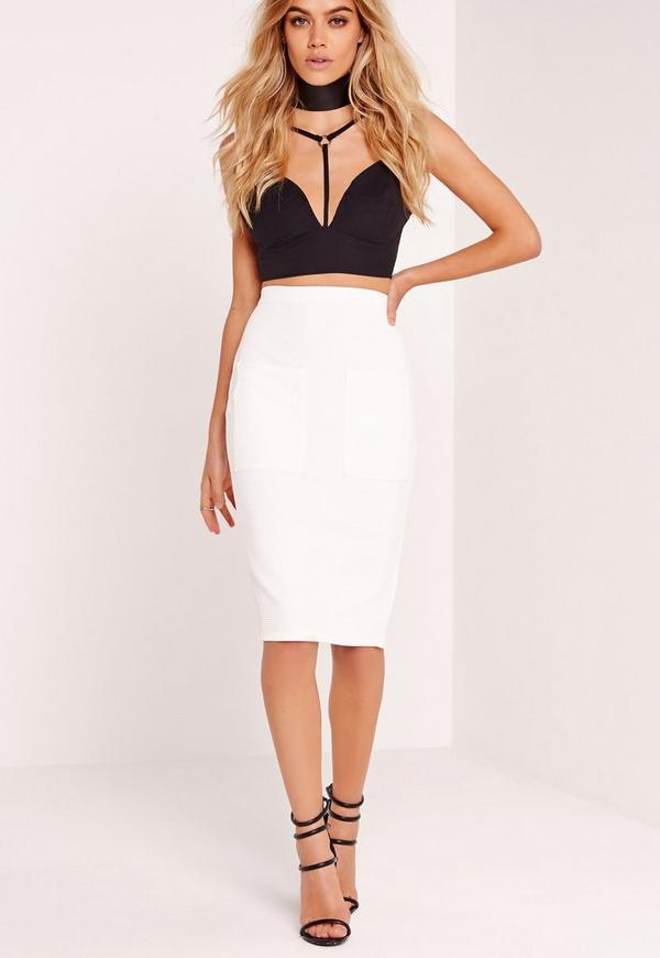 Pocket Ribbed Midi Skirt White