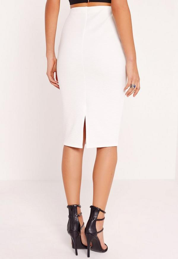 Pocket Ribbed Midi Skirt White | Missguided Australia