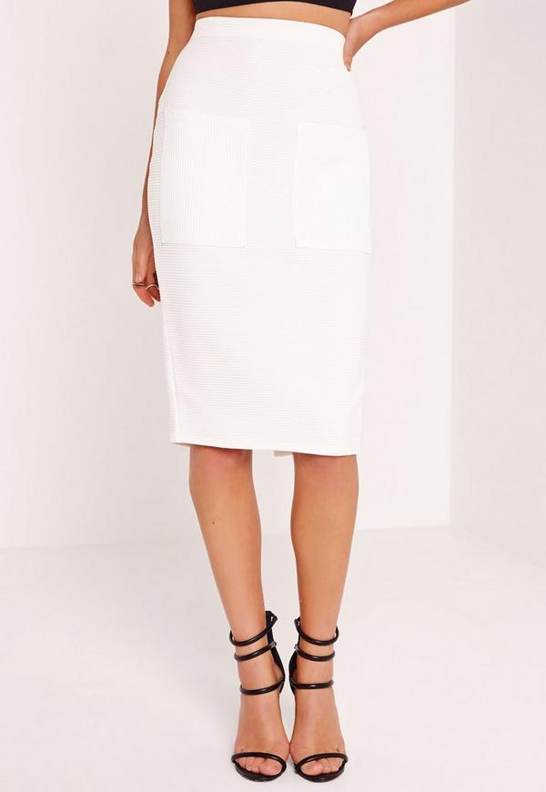 pocket ribbed midi skirt white missguided australia