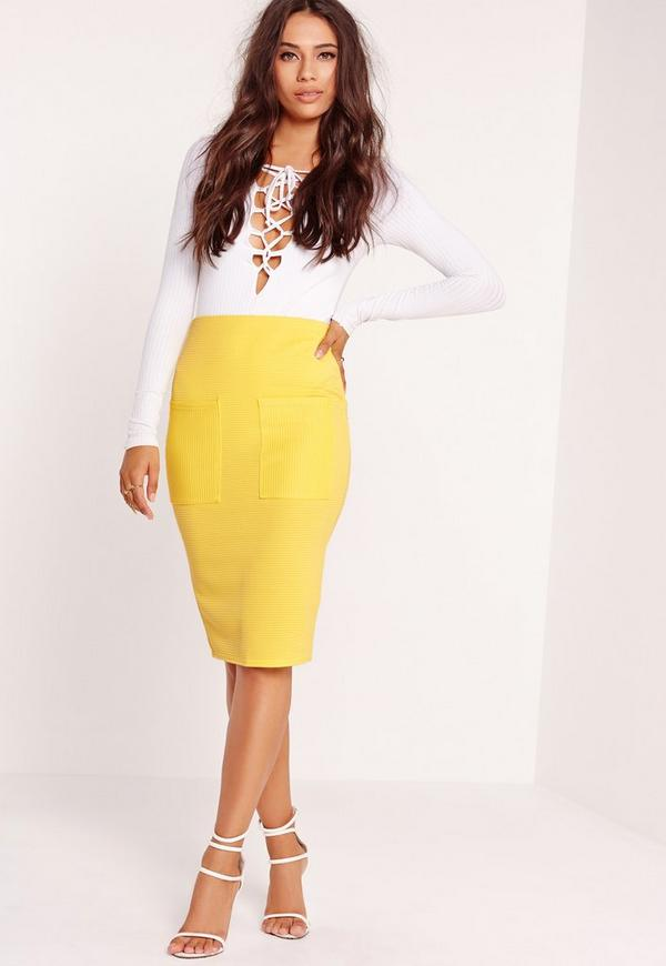 Pocket Ribbed Midi Skirt Yellow