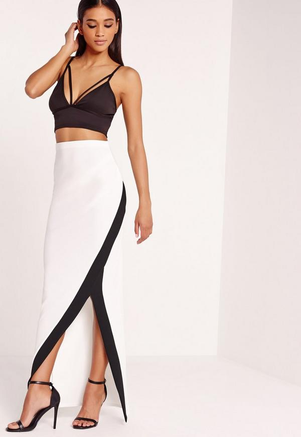 Contrast Side Split Maxi Skirt White