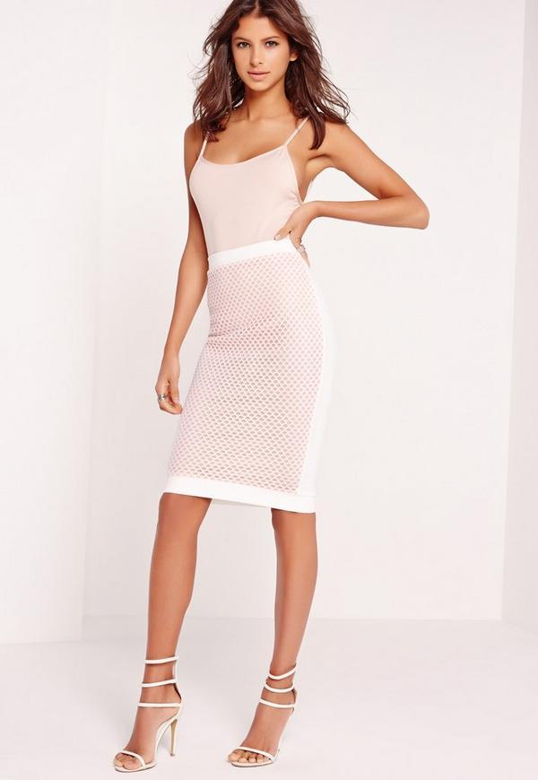 Fishnet Mesh Midi Skirt White