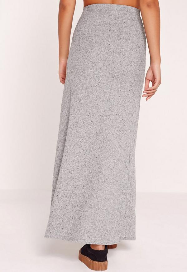 zip split front ribbed maxi skirt grey missguided