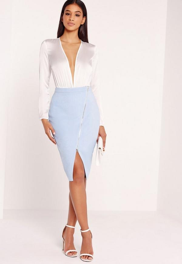 Faux Suede Asymmetric Midi Skirt Blue