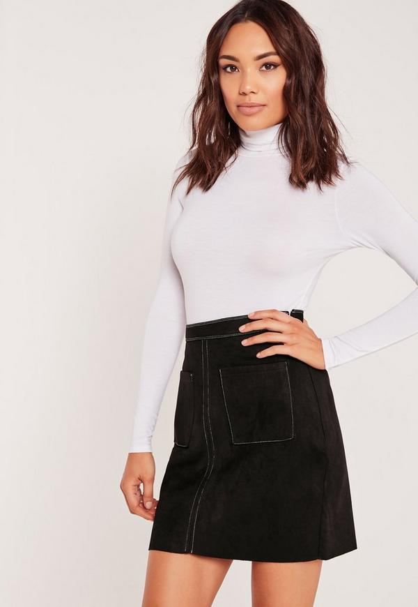 Faux Suede Stitch Pocket Detail A-Line Skirt