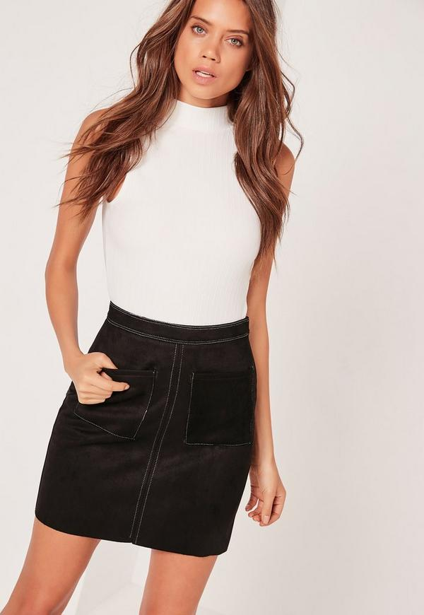 Faux Suede Contrast Stitch A Line Skirt Black