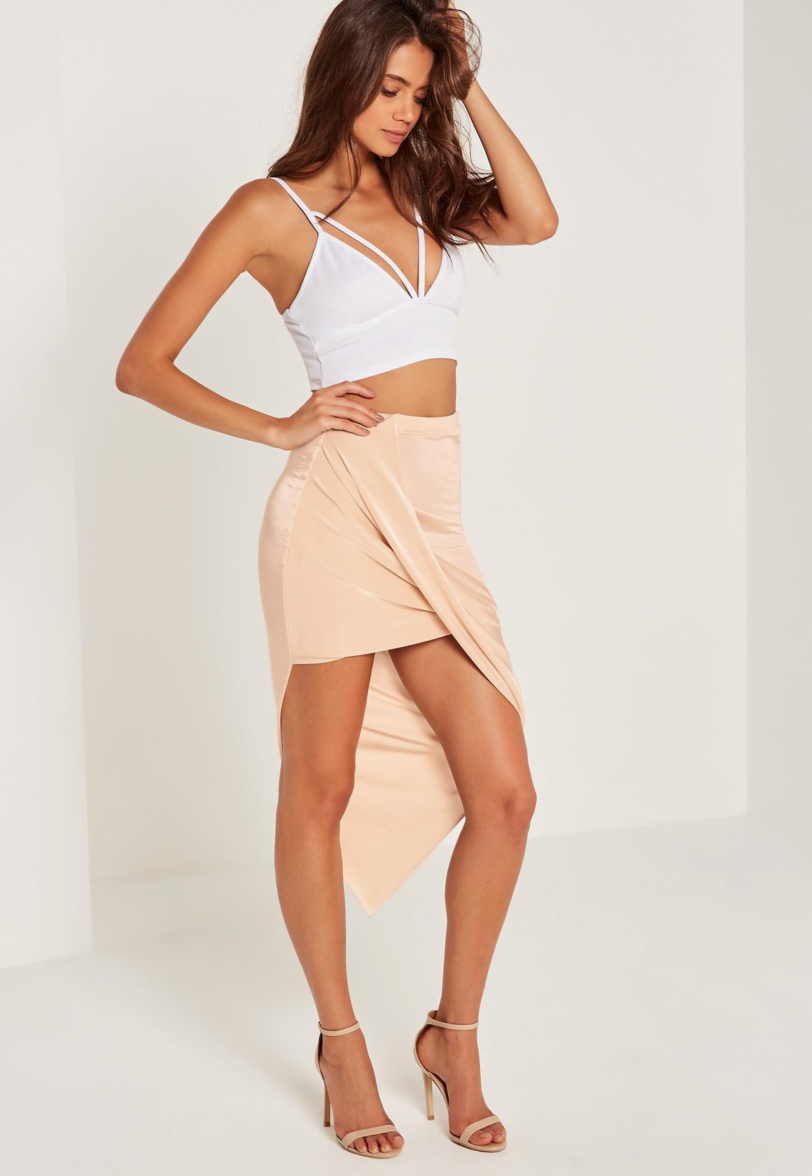 Slinky Asymmetric Wrap Skirt Nude