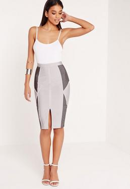 Premium Bandage Colour Block Midi Skirt Grey