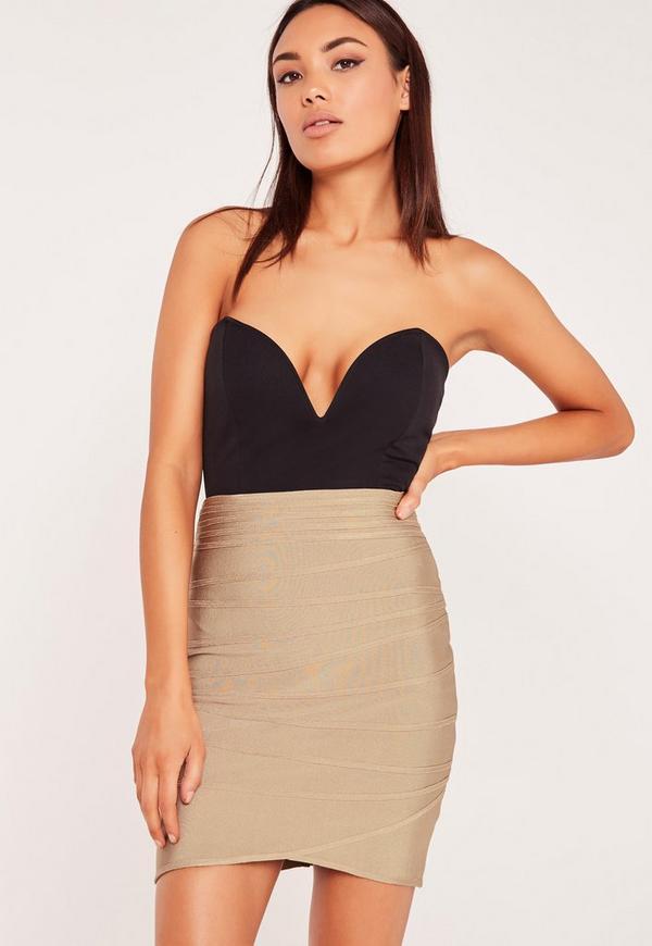 Premium Bandage Ripple Texture Mini Skirt Gold