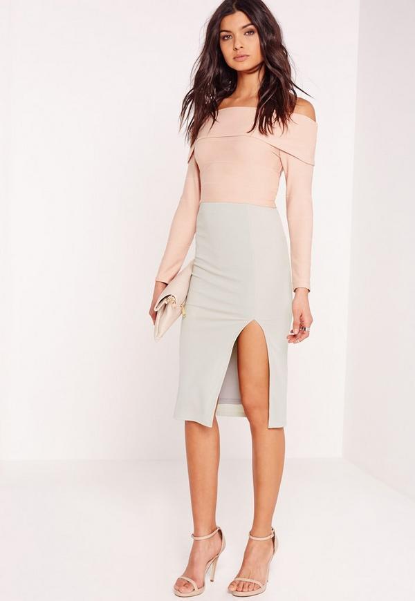 Slit Midi Skirt Grey