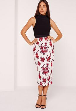 Floral Print Exposed Elastic Midi Skirt Multi