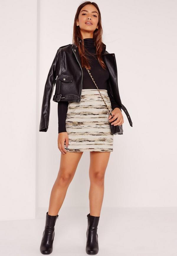 A Line Textured Stripe Mini Skirt Multi