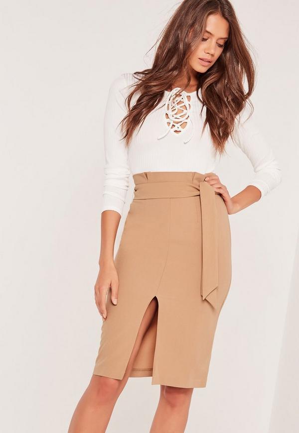 Paper Bag Waist Pencil Skirt Tan Missguided