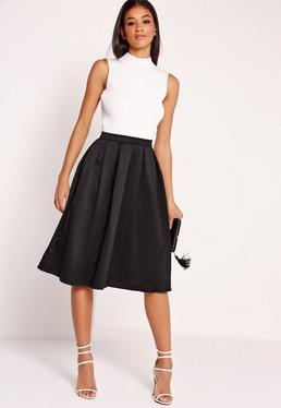 Satin Pleat Waistband Full Midi Skirt Black