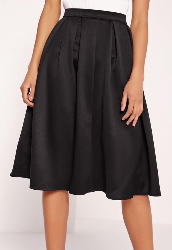 satin pleat waistband midi skirt black missguided