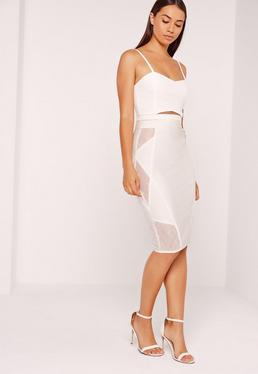 Premium Bandage Lace Insert Midi Skirt White