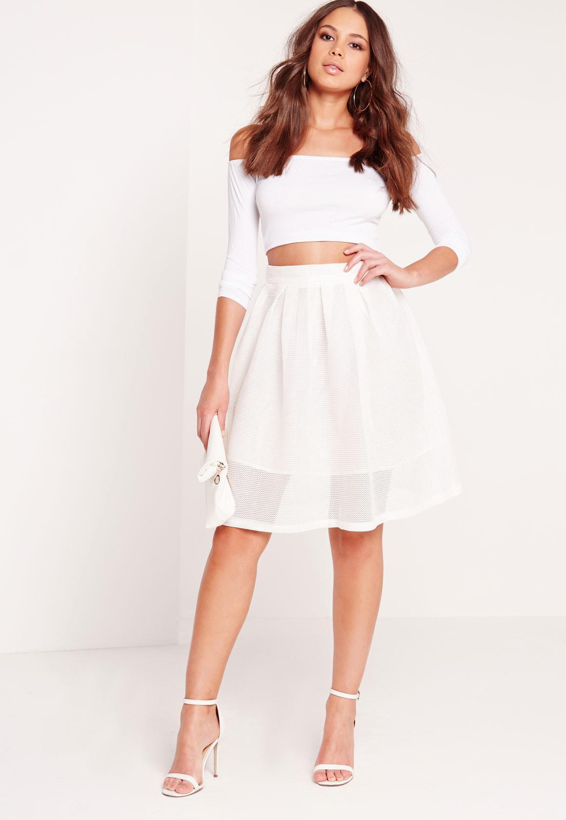 Mesh Full Skater Skirt White | Missguided