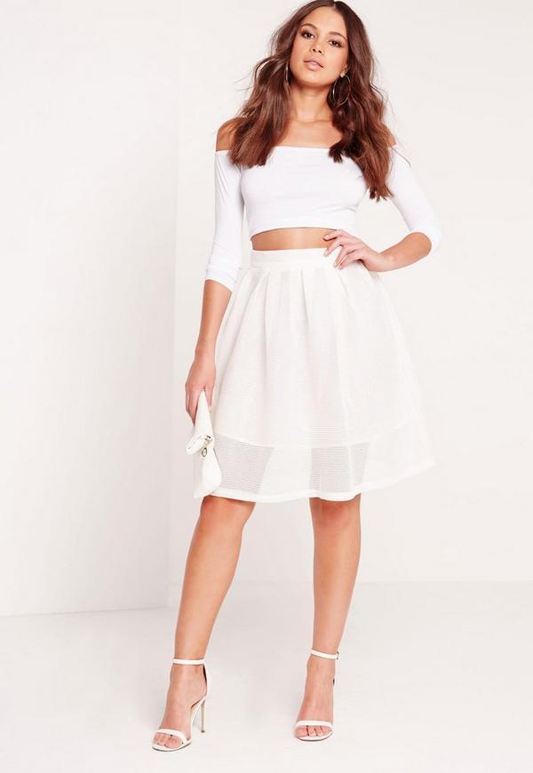 Mesh Full Skater Skirt White