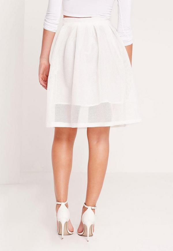 d75cf7c5d638 Mesh Full Skater Skirt White